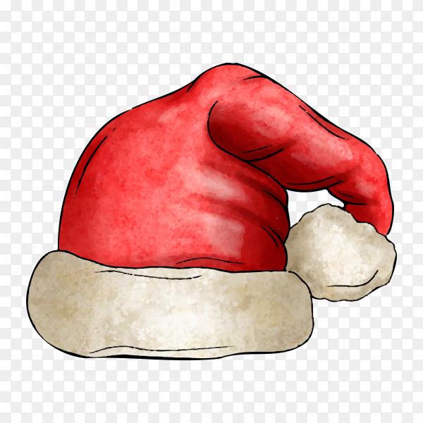 Watercolor Santa Claus hat on transparent background PNG