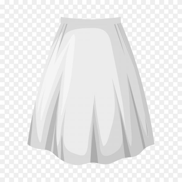 White female skirt on transparent background PNG