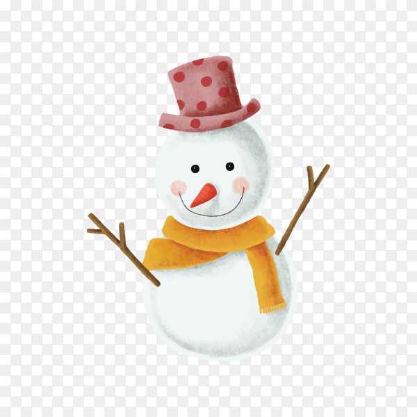 Winter snowman on transparent background PNG