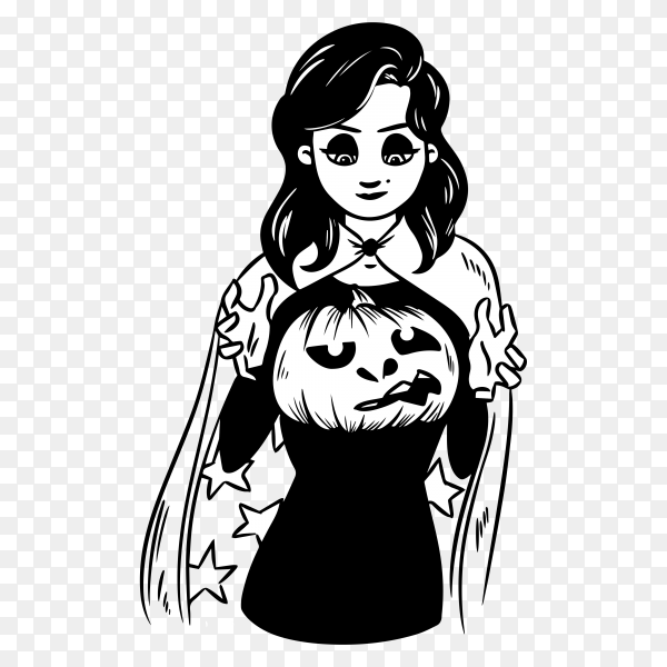 Witch holds a pumpkin lantern on transparent background PNG