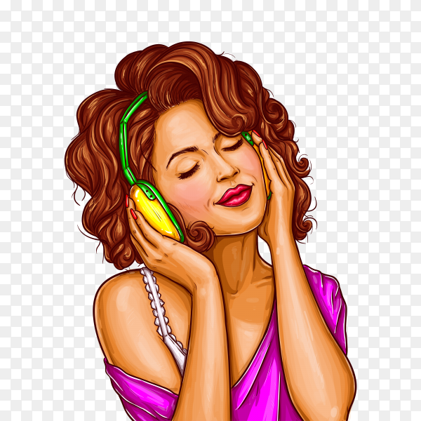 Woman listening music in headphones pop art on transparent background PNG