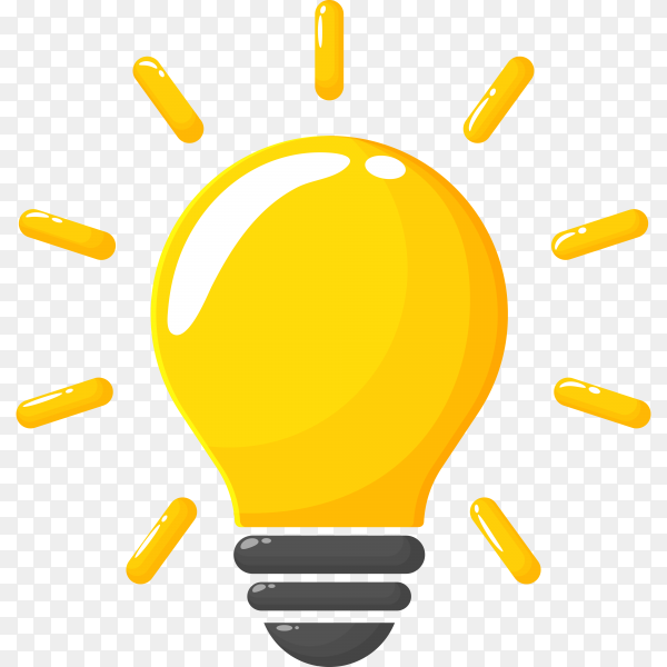 Yellow light bulb, the concept of creating new ideas and innovations on transparent background PNG