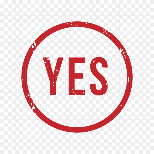 Yes rubber stamp Isolated on transparent background PNG