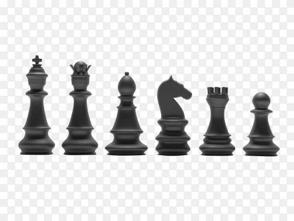 Black chess piece icon on transparent background PNG