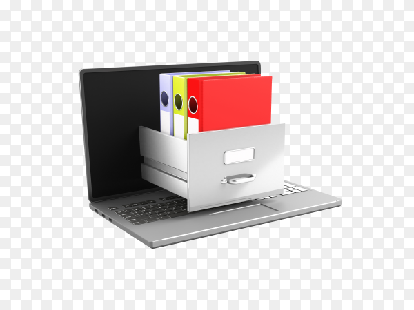 3d Dictionaries on Laptop keyboard. E-learning on transparent background PNG