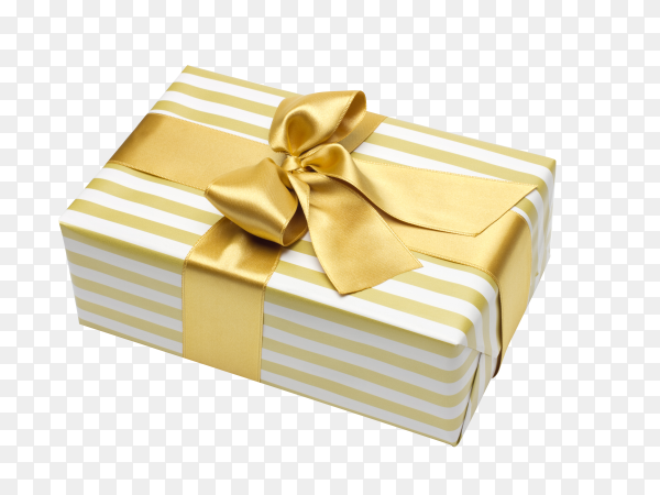 3d gift box wrapped golden ribbon on transparent background PNG