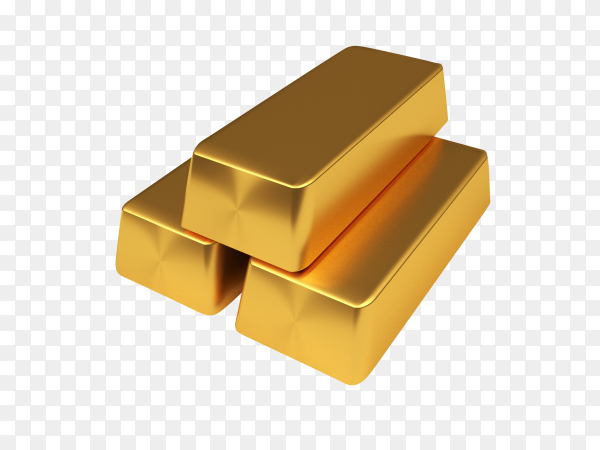A pile of gold bars isolated on transparent background PNG
