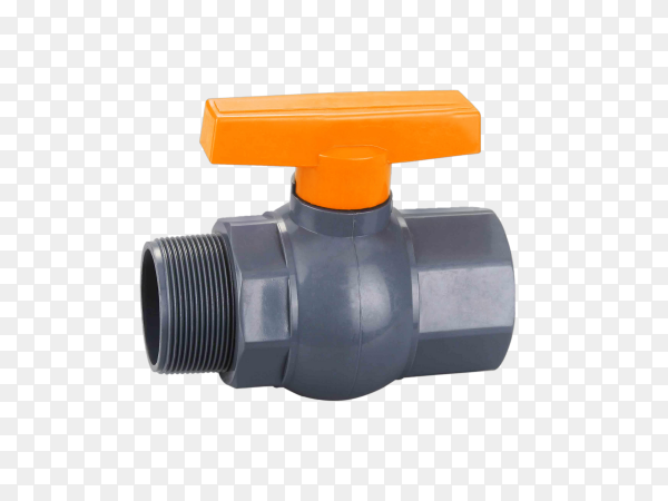 A water or gas ball valve is visible through in an open state on transparent background PNG