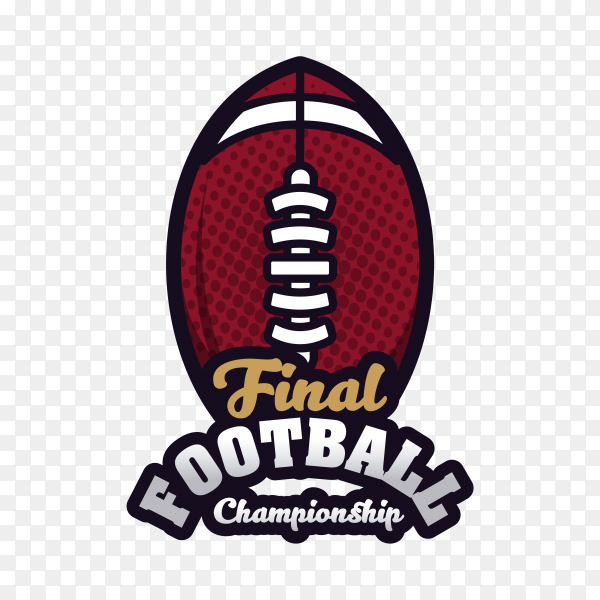 American football badge on transparent background PNG