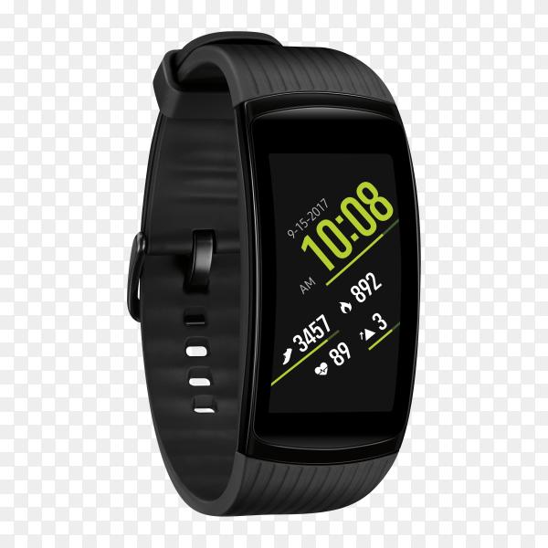 An elegant black smart watch on transparent background PNG