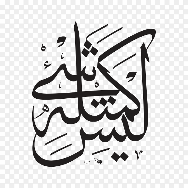 Arabic Islamic calligraphy of verse from Quran surah (Al-shora)verse (11) means Nothing like it on transparent background PNG