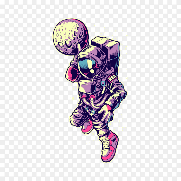 Astronaut dunk basketball Poster on transparent background PNG