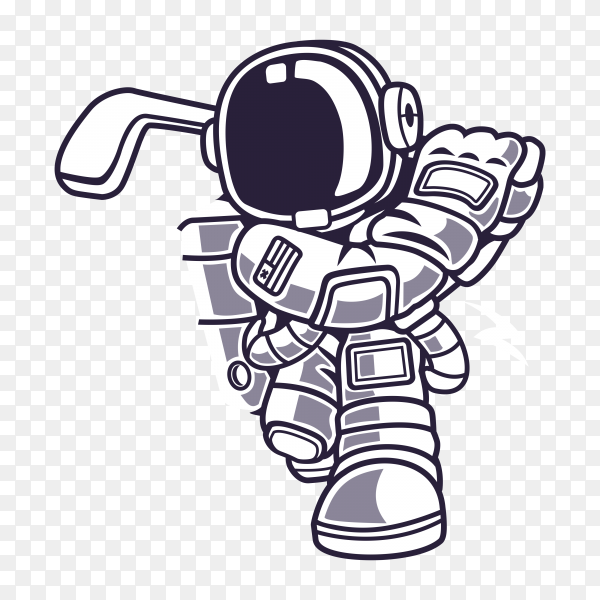 Astronaut playing golf on the moon, on transparent background PNG