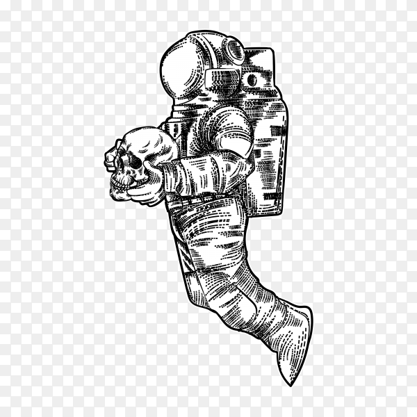 Astronaut take skull in hand on transparent background PNG