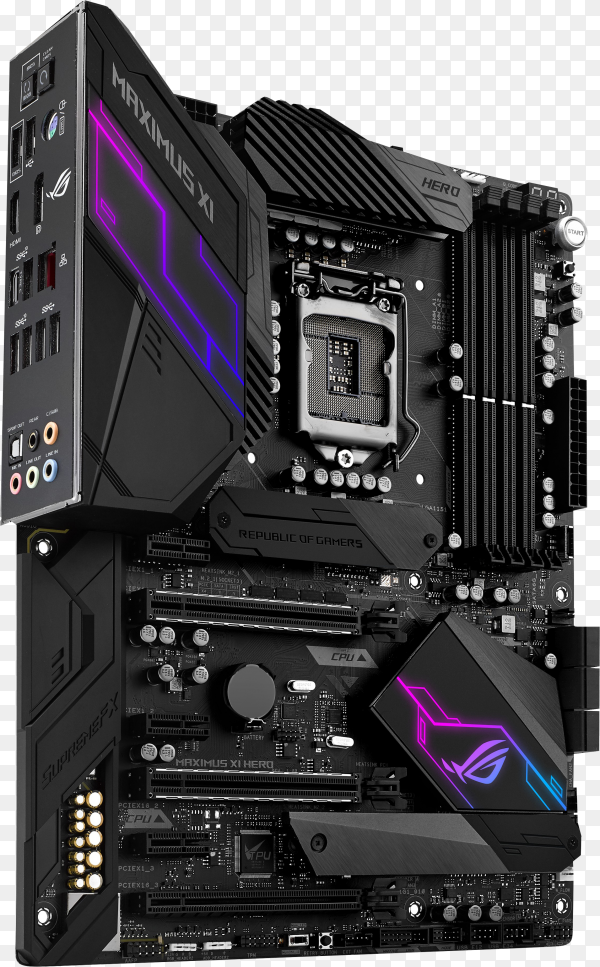 Asus motherboard isolated on transparent background PNG