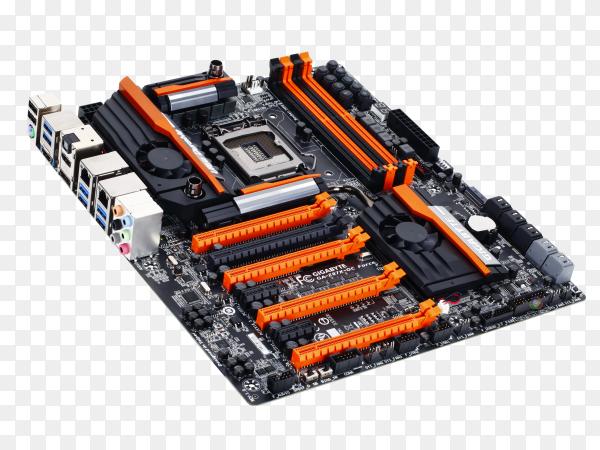 Asus motherboard mock-up on transparent PNG