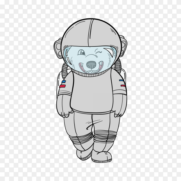 Bear astronaut, hand-drawn art print on transparent background PNG