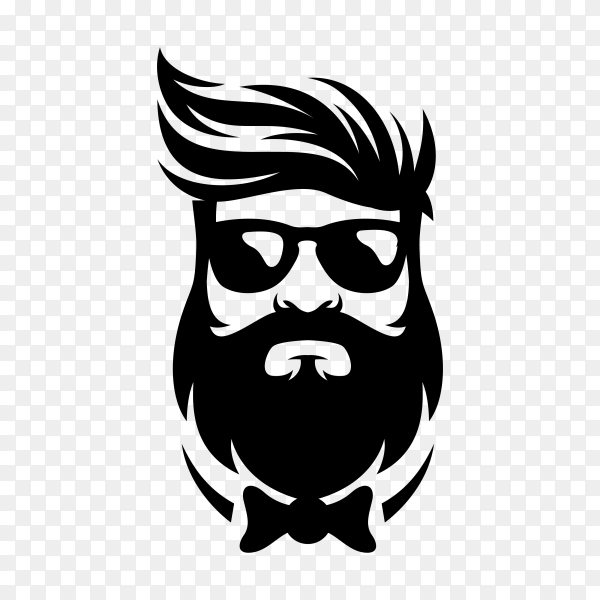 Beard barber logo design template on transparent background PNG