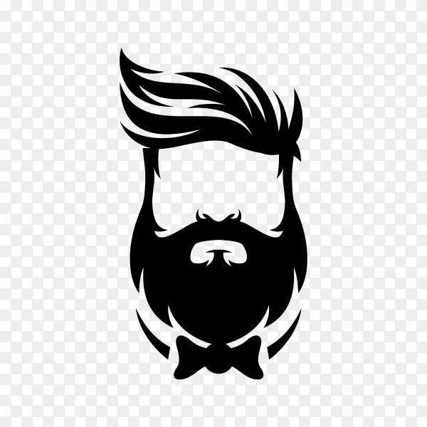 Beard barber logo symbol on transparent background PNG