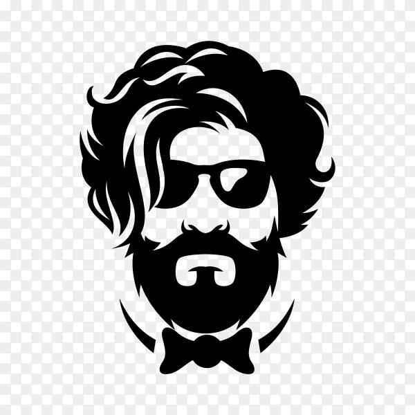 Beard barber logo template on transparent background PNG