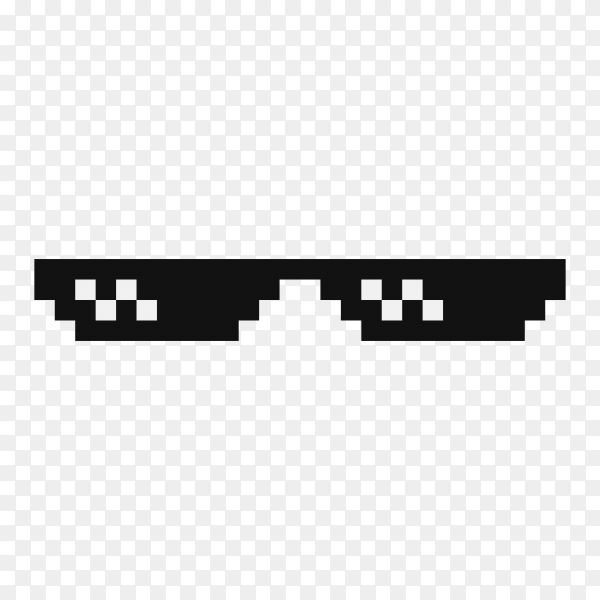 Black Funny pixelated boss sunglasses on transparent background PNG