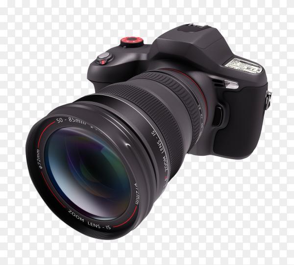 Black Professional camera on transparent background PNG