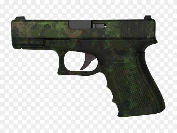 Black gun isolated on transparent background PNG