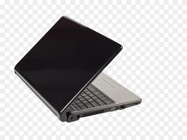 Black laptop on transparent background PNG