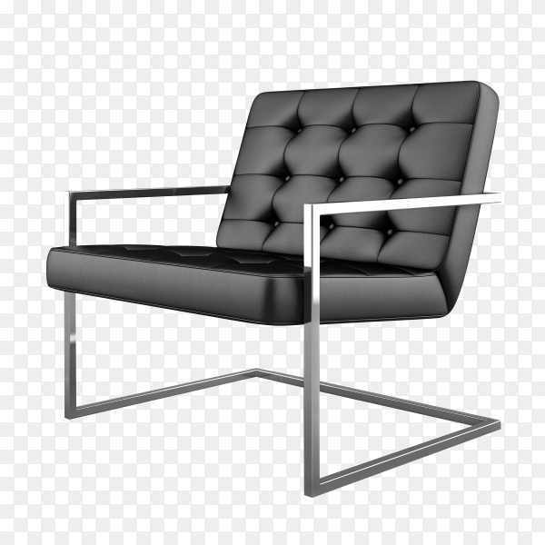 Black modern Armchair isolated on transparent background PNG
