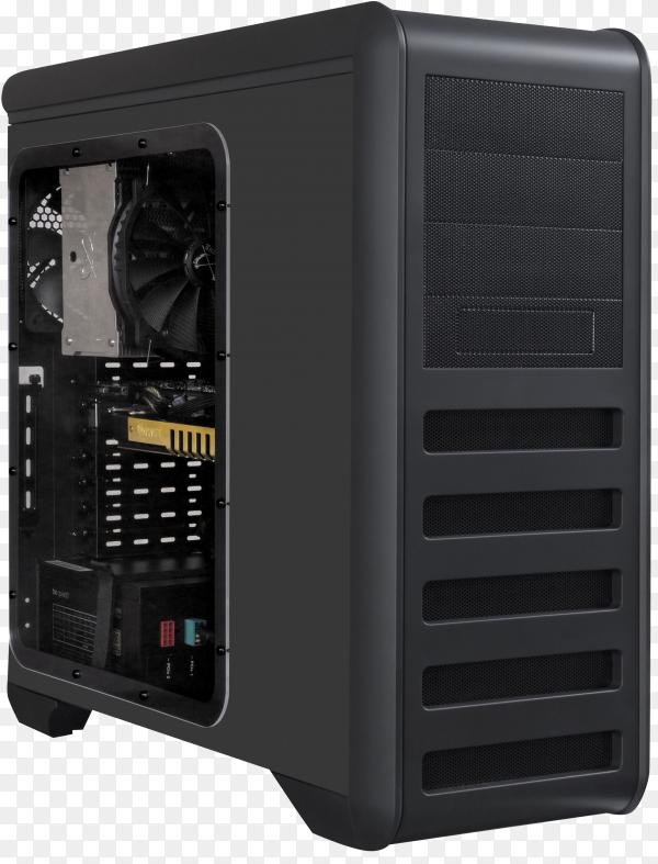 Black modern desktop computer on transparent background PNG