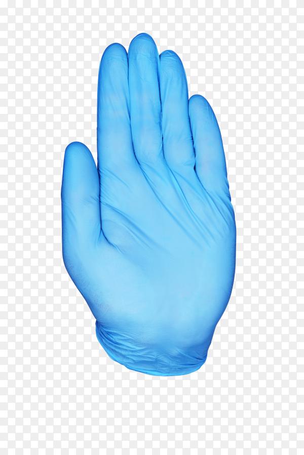 Blue nitrile medical gloves on hand on transparent background PNG