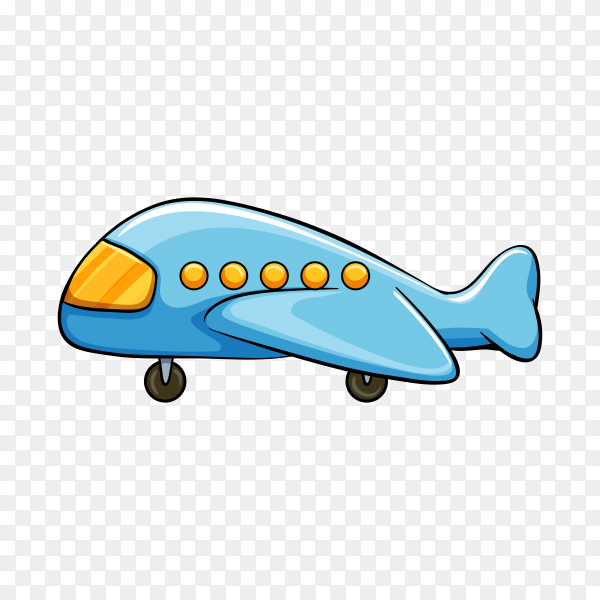 Blue plane toy on transparent background PNG