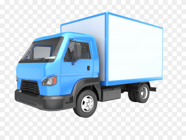 Blue truck isolated on transparent background PNG