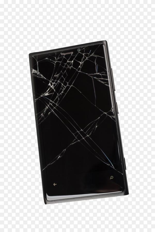 Broken mobile phone on transparent background PNG