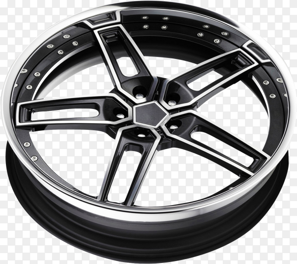 Car alloy wheel isolated on transparent background PNG
