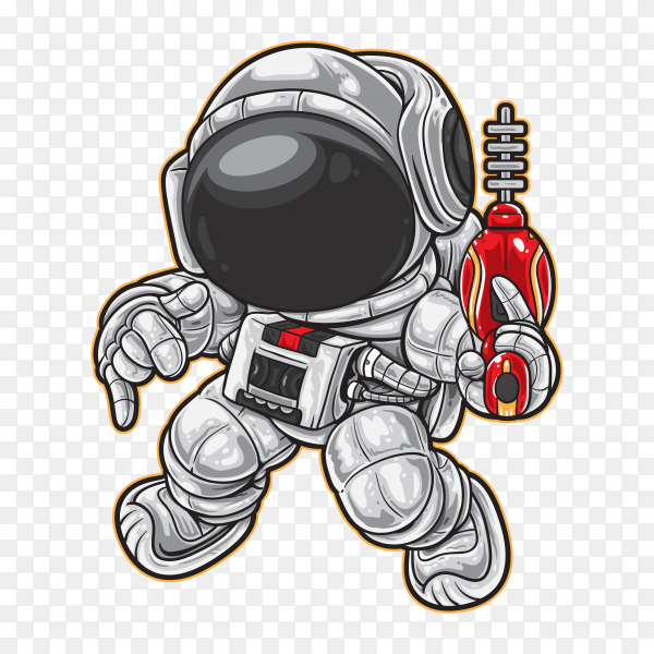 Cartoon Astronaut Space on transparent background PNG