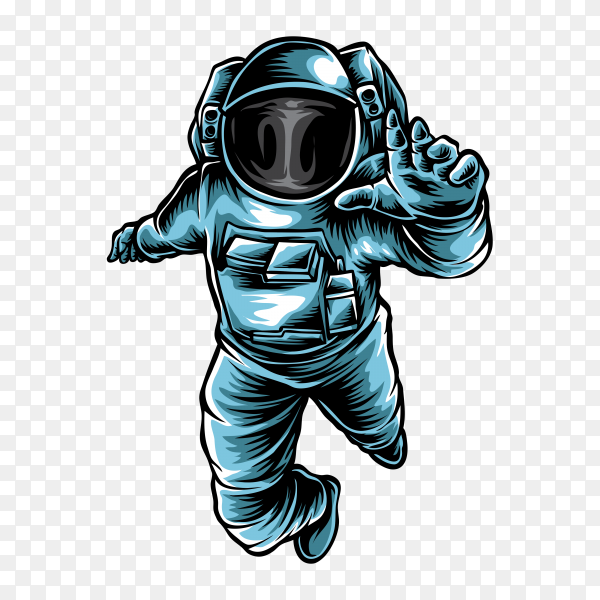 Cartoon astronaut floating on transparent background PNG