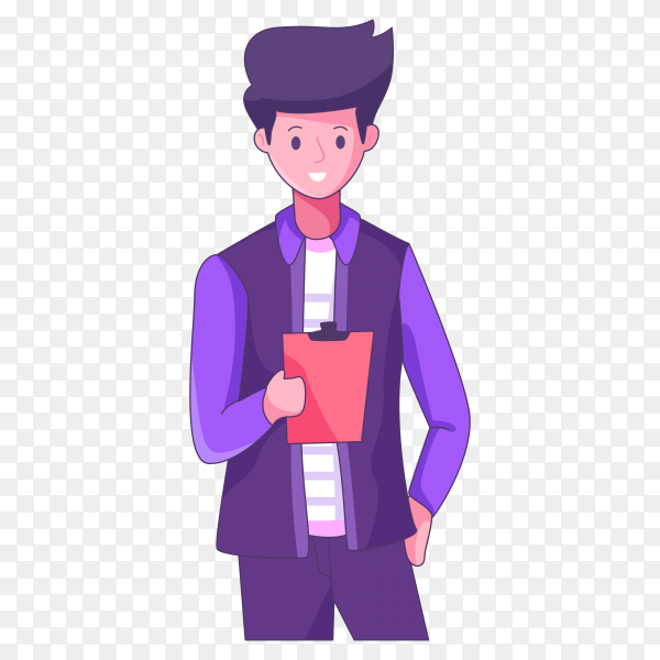 Cartoon man holding check list on transparent background PNG