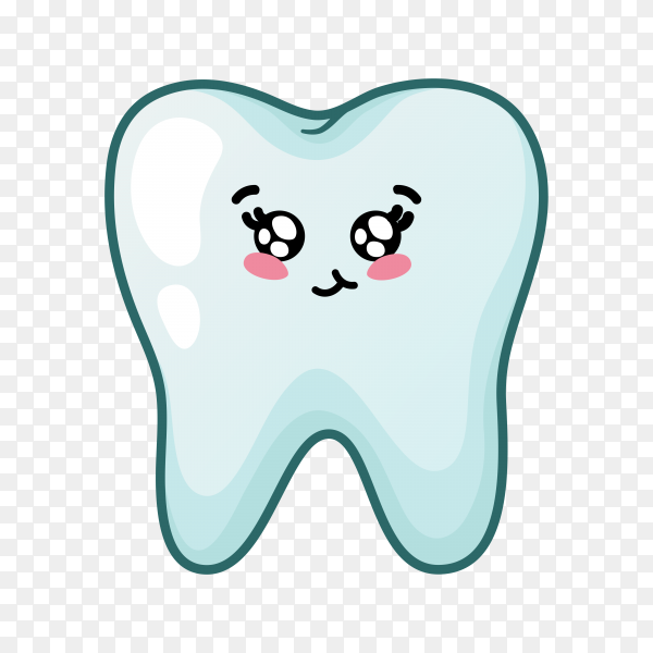 Cartoon tooth with flat design on transparent background PNG