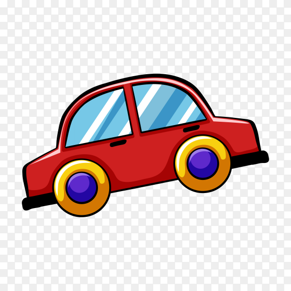 Cartoon toy car on transparent background PNG