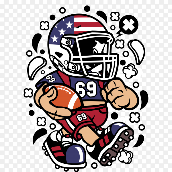 Children's Cartoons of American Football  on transparent background PNG