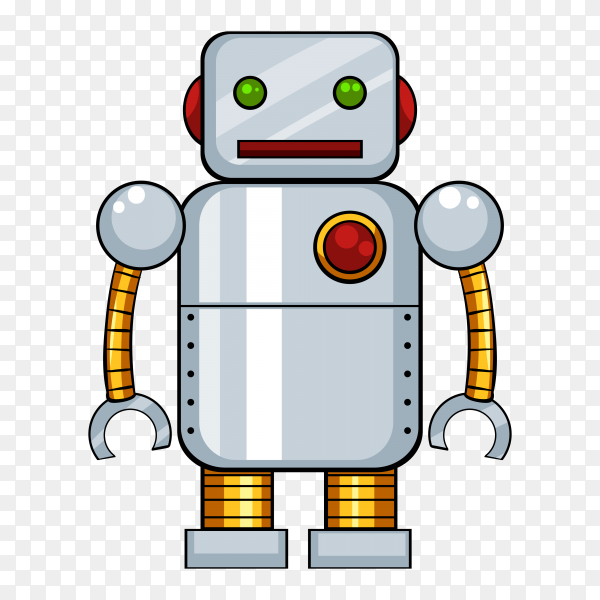Children's toy, white robot on transparent background PNG
