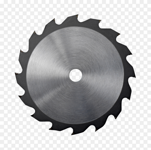 Circular saw blade for wood work on transparent background PNG