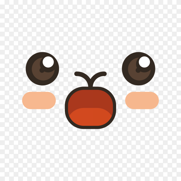 Cute lovely kawaii emoticon on transparent background PNG