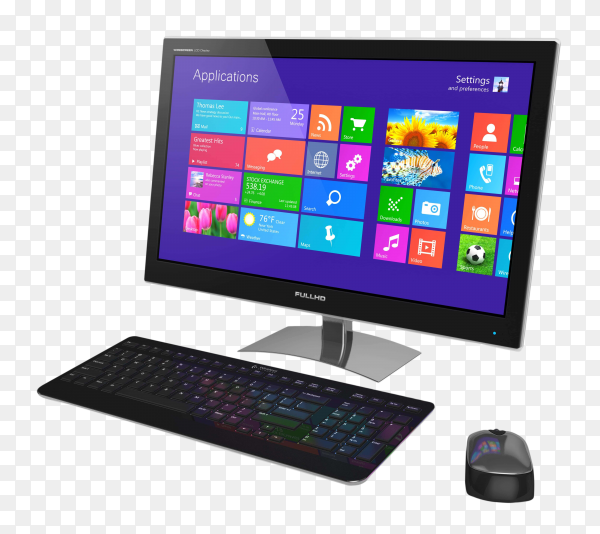 Desktop and keyboard and mouse on transparent background PNG
