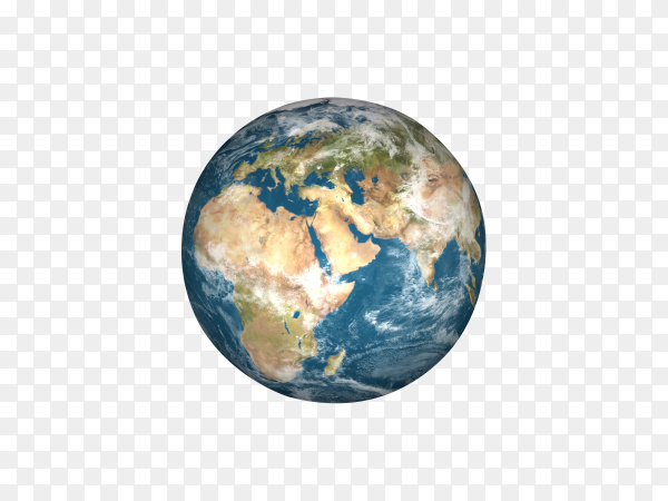 Earth planet globe on transparent background PNG
