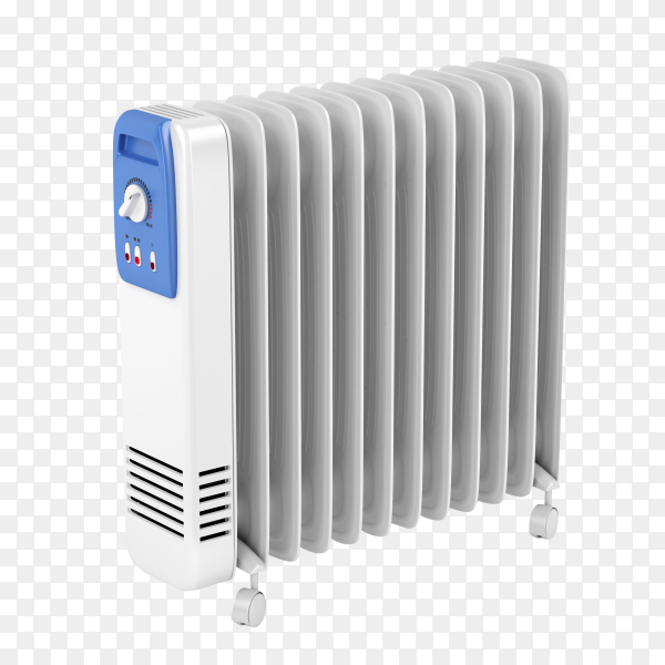 Electric oil heater isolated on transparent background PNG