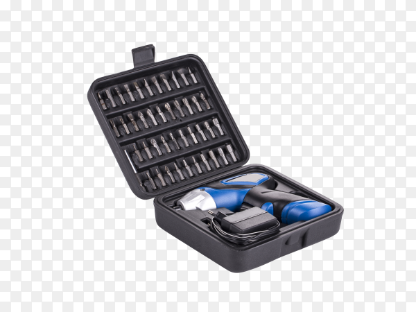 Electric screwdriver in case on transparent background PNG