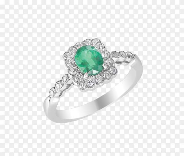 Engagement diamond ring band with green emerald on transparent background PNG