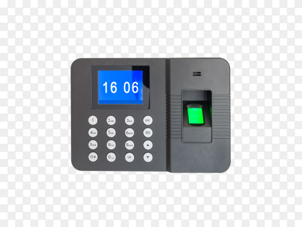 Fingerprint attendance machine isolated on transparent background PNG